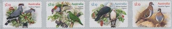 AUS 01/06/2021 Doves and Pigeons self-adhesive set of 4 from roll
